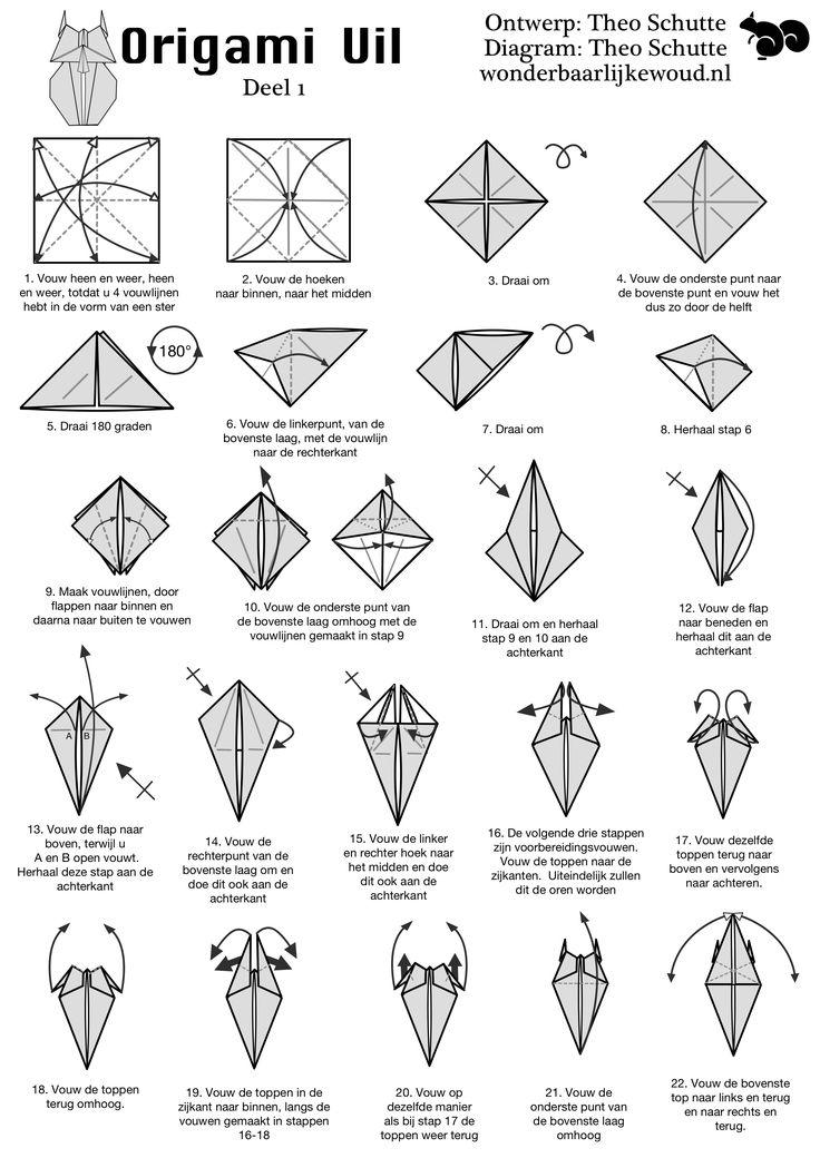 Origami Uil deel 1 van http://www.wonderbaarlijkewoud.nl/origami/uil.html