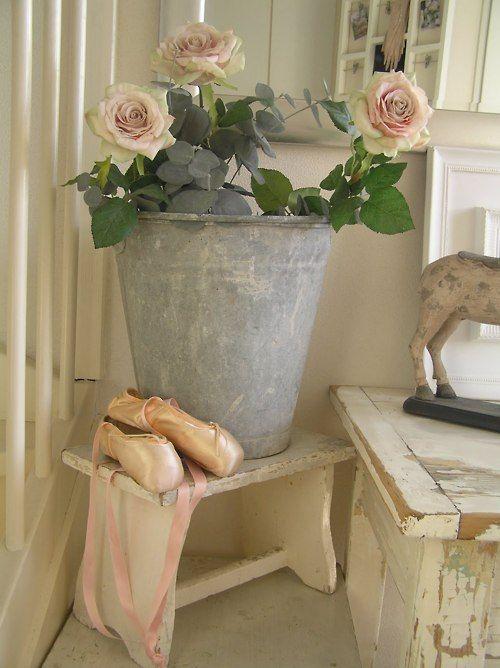 Romantically pink.: Weight Loss, Lose Weight, Shabby Chic, Romantic, Roses, Flea Market, Galvanized Bucket, Shabbychic, Ballet Shoe