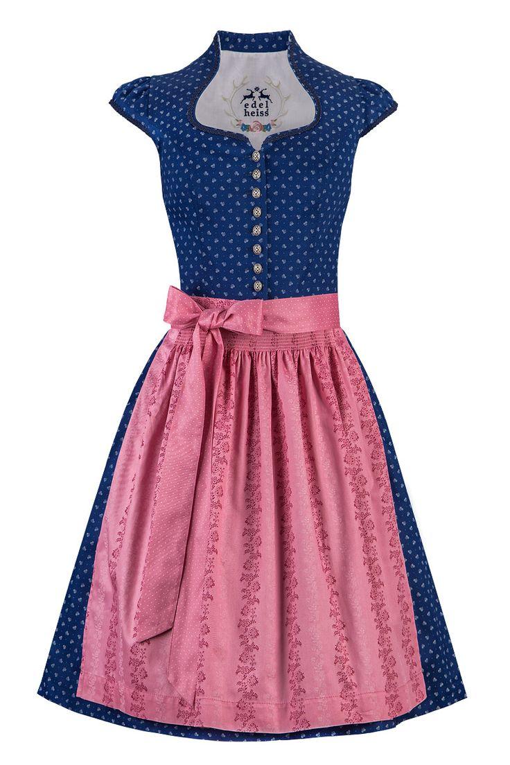 Edelheiss Mini Dirndl 60er dunkelblau-rosa Nicoletta mit Ärmel 001994   Moser Trachten + Dirndl - Bayerns größter Trachtenausstatter