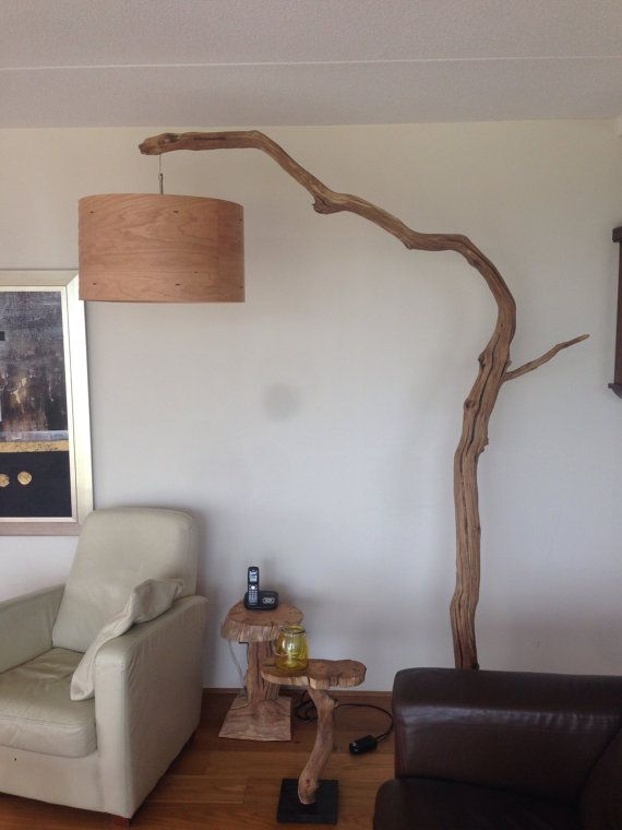 Floor lamp, Arc Lamp, made of Oak branch, on natural stone base
