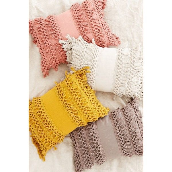 Venice Net Tassel Bolster Pillow ($49) ❤ liked on Polyvore featuring home, home decor, throw pillows, inspirational throw pillows, inspirational home decor, urban outfitters, mustard yellow throw pillows and tassels home decor