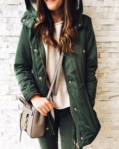Casual Rainy Day Style. Rainy day style outfit. Olive parka outfit.