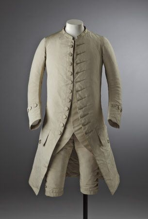 Man's cream silk wedding suit, 18th century, part of the costume collection at Ham House, Surrey. The waistcoat is a reproduction.