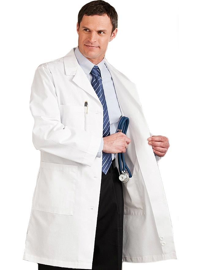 Style Code: (ME-1963)  This 38-inch long lab coat for men has 5 Pockets - 2 Lower Patch Pockets, 1 Breast, 2 Inside - 1 Oversided to Hold iPad®. and Hand Access Slits. It has also Pen Holder in Breast Pocket and  Edge Stitched Front. It is also Sewn Down Back Belt with Accent Darts Above & Pleats Below. It is made up of 65% Polyester/35% Cotton Fine Line Twill with Soil Release.