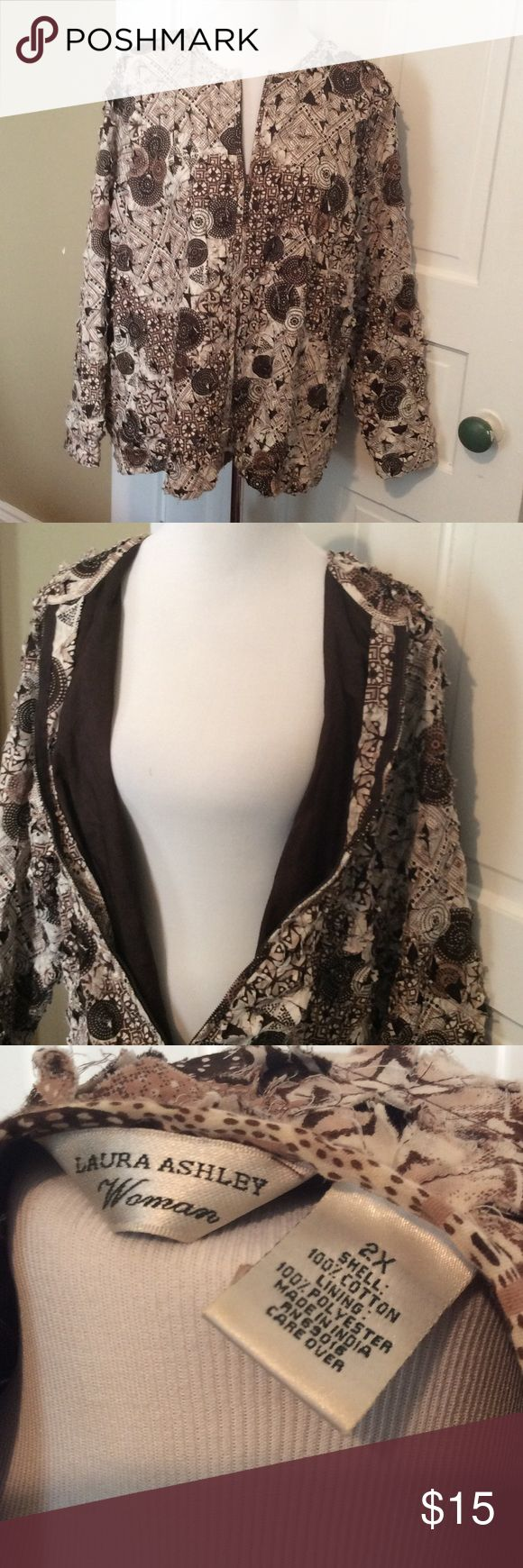Laura Ashley Rag Quilt  jacket This is a light cotton jacket that is similar to a rag quilt design. It is brown and cream and fully lined in brown. Laura Ashley Jackets & Coats Utility Jackets