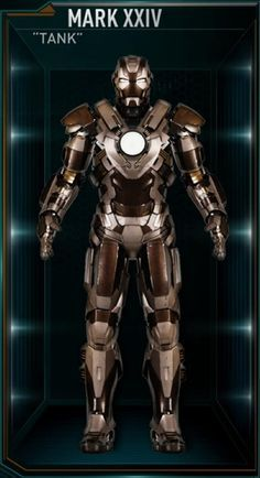 """Iron Man Movie Armors: MARK XXIV """"Tank"""" (Heavy Combat Suit increased Armor Durability withstands powerful attacks, can handle twice the damage, enlarged Unibeam has powerful energy output)"""