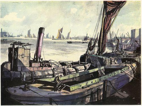 Thames Riverscene by Rowland Hilder, 1939