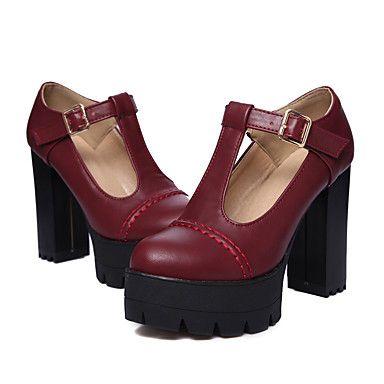 Per donna Scarpe PU (Poliuretano) Primavera Estate Club Shoes Tacchi Quadrato Heel di blocco Punta tonda Fibbia per Ufficio e carriera