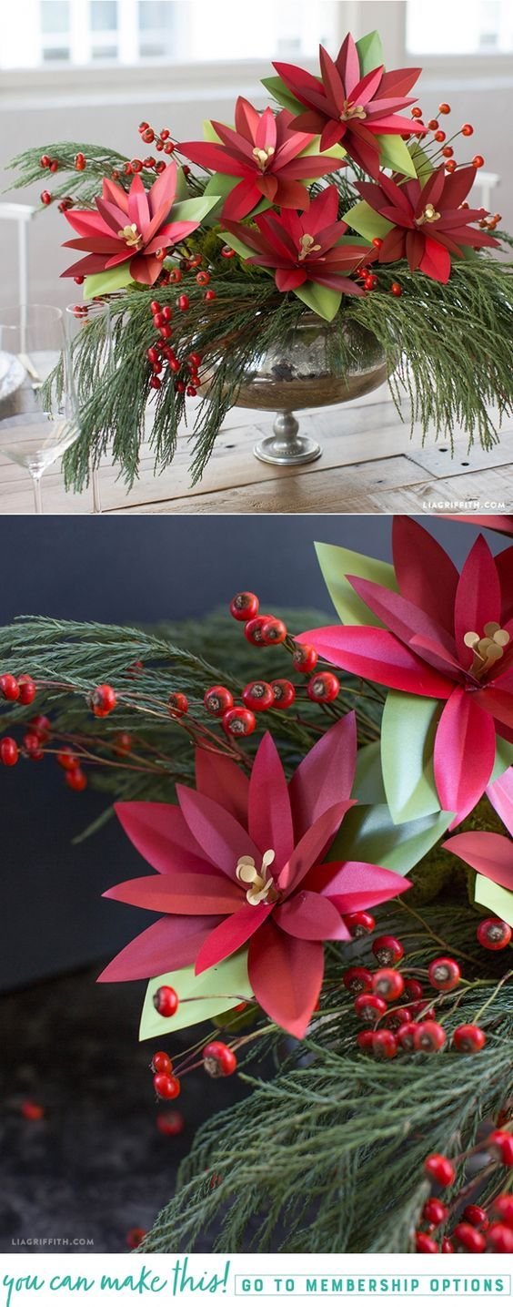 Paper Poinsettia Plant - Lia Griffith - www.liagriffith.com #spons @paperpaperscom #diyholiday #diychristmas #paperflower #paperflowers #paperart #diyhomedecor #madewithlia