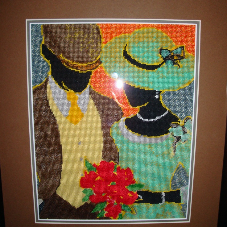 Art Needlepoint Celebrating Love stitched by Meriwether from the Art Needlepoint Company