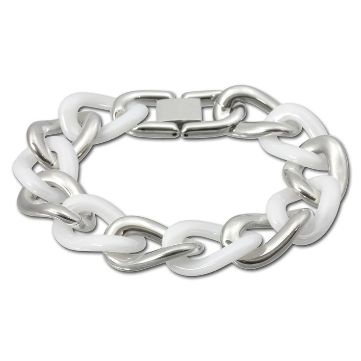 Amello stainless steel chunky curb bracelet with white ceramic, 7.08 inch, original Amello ESAX06W. stainless steel bracelet. white ceramic. Each jewel comes in a free gift packaging. article is also available as Amello product set. Size: 7.08 inch.