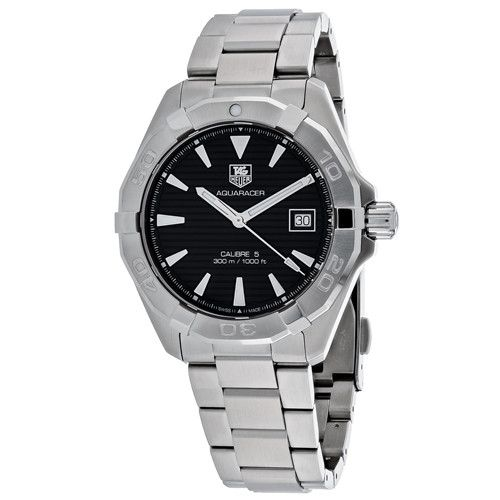 Tag Heuer Men's Aquaracer Automatic Silver Band Black Dial