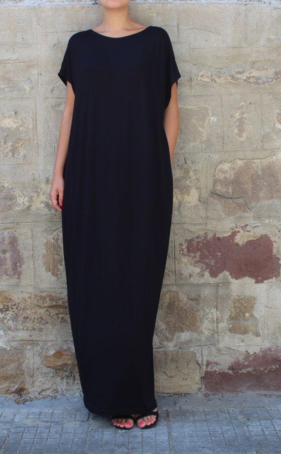 SALE ON 20 % OFF Caftan Black Dress Oversized dress Backless