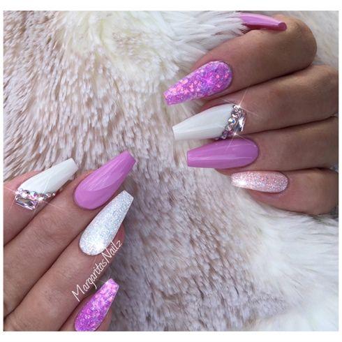 white and lavender coffin nailsmargaritasnailz