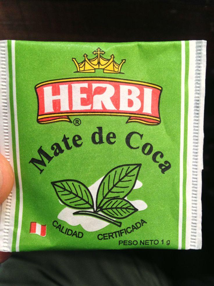 The drink of juice in Peru. Herbi's Mate de Coca. (Coca Tea). Puerto Maldonado