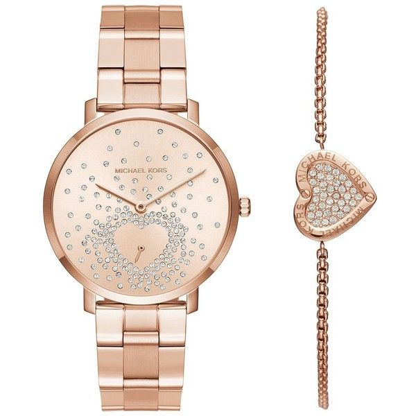 Michael Kors Two-Piece Jaryn Rose Goldtone Stainless Steel Bracelet... found on Polyvore featuring jewelry, watches, accessories, bracelets, rose gold, michael kors charm, engraved heart charm, stainless steel charms, charm bracelet watch and heart charm