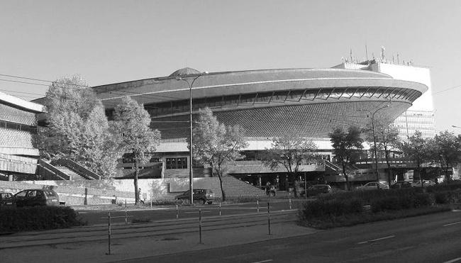 """""""Spodek"""" (""""UFO/Saucer"""") sport-entertainment arena in Katowice, Poland. 1971"""