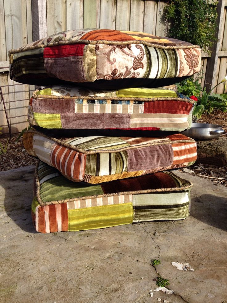 Big floor cushions upcycled from old corduroy patchwork quilts.