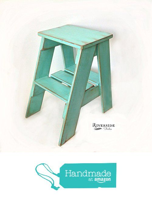 Rustic Wood Step Stool Shabby Chic Furniture / Bedroom Side Table / Cottage Farmhouse / Bohemian Decor / Green Blue Teal gray / Step Ladder / Distressed Furniture / Chalk Paint from RiversideStudio