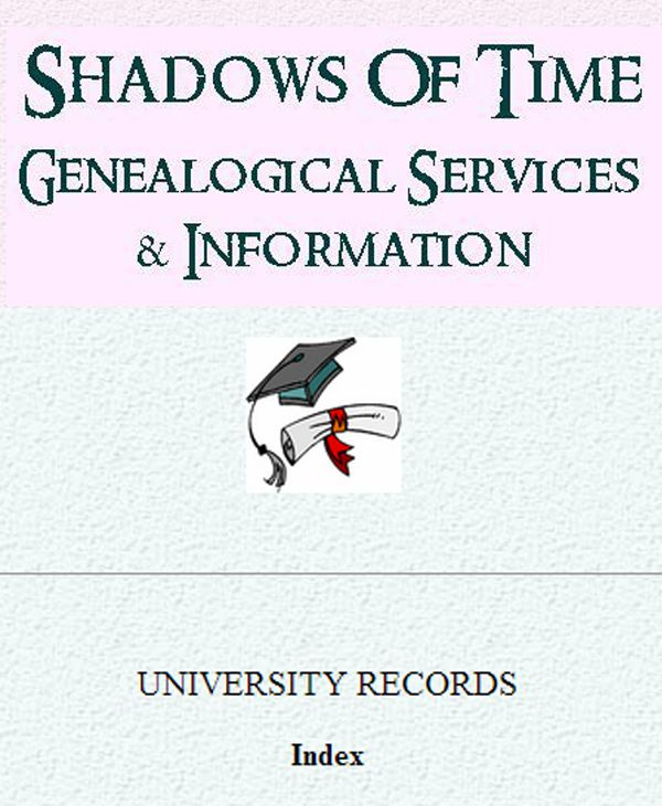 An index of New Zealand University Graduates from 1870-1961. This is just one of many indexes on the Shadows Of Time website and there's an overall search available too. www.memoriesintime.co.nz