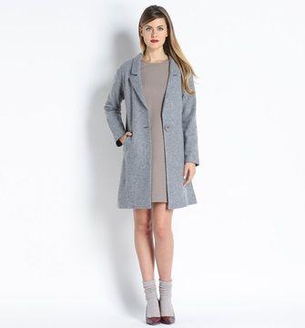 ECCENTRICA Cappotto in lana cotta un bottone grigio