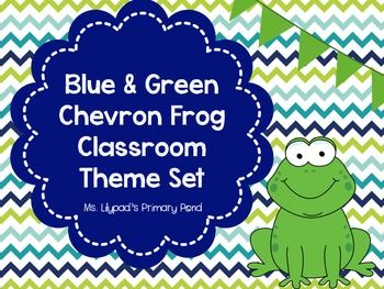 CHEVRON!  Blue & green chevron and frog themed classroom decor kit - alphabet and number posters, labels for supplies, book bin labels, job set, calendar materials, and more! $