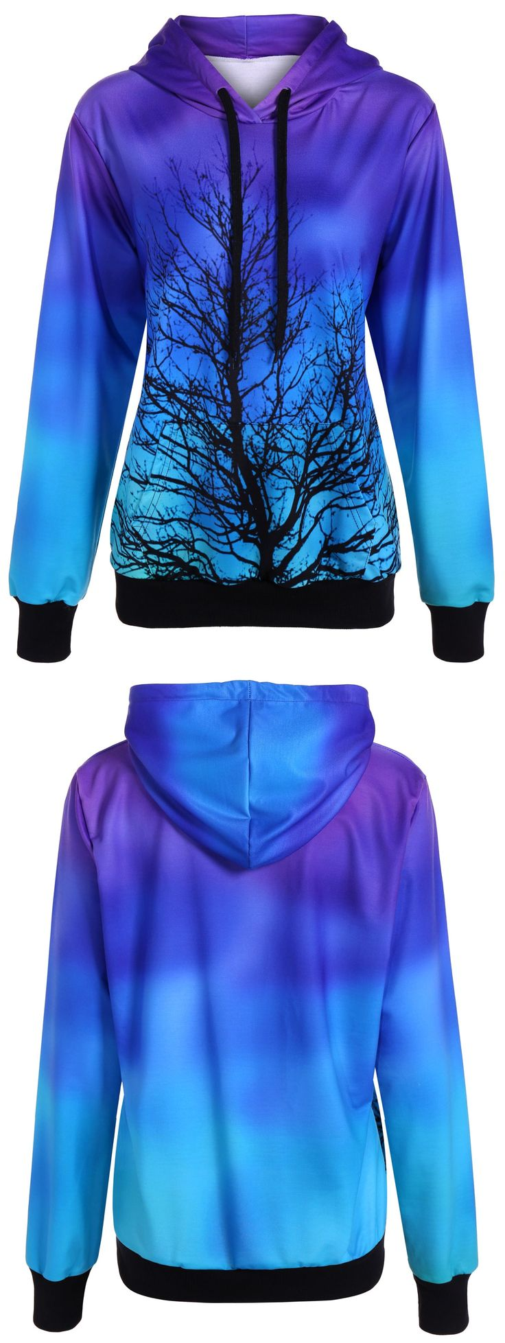 $23.61 Ombre Color Tree Pullover Hoodie I WANT IT!