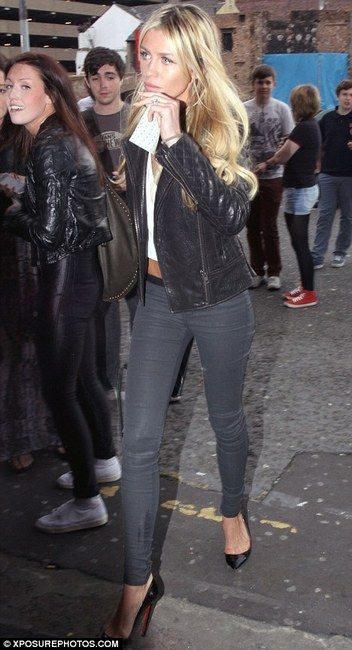 Abbey Clancy and AllSaints Rally Leather Jacket Photograph