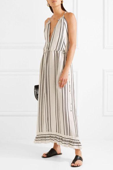 APIECE APART - Himalaya Striped Linen And Silk-blend Maxi Dress - White