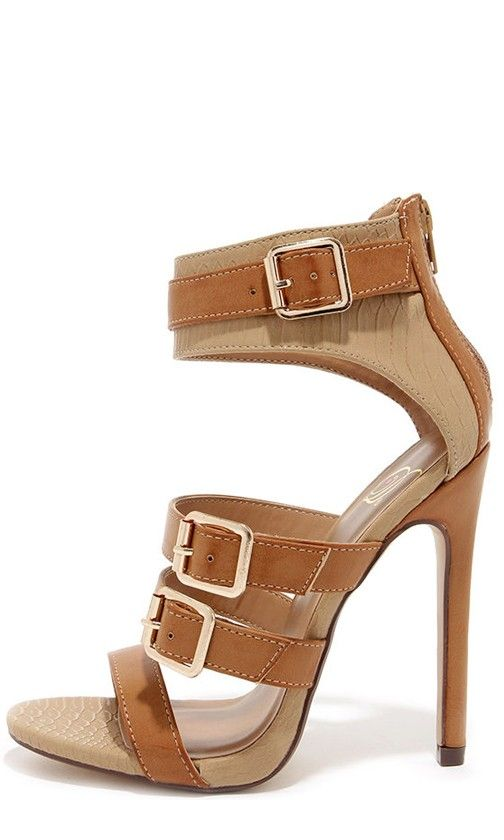 Tan Belted High Heel Sandals