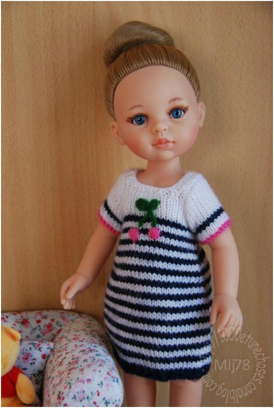 Patron robe rayée pour poupée Les Chéries