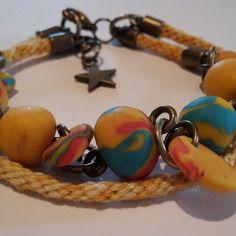 Bracelet kumihimo  + bracelet en pâte fimo jaune 2en1 avec breloque étoile