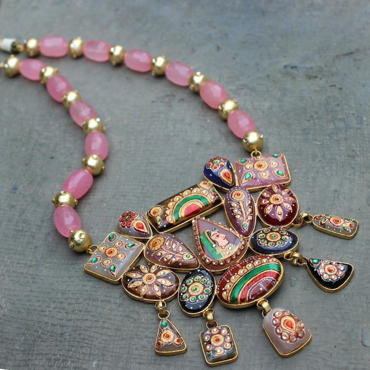 ANIDA GOLD TONE PINK AGATE NECKLACE SET @ Indiatrend For $144.99USD  Wirh Free Shiping World Wide