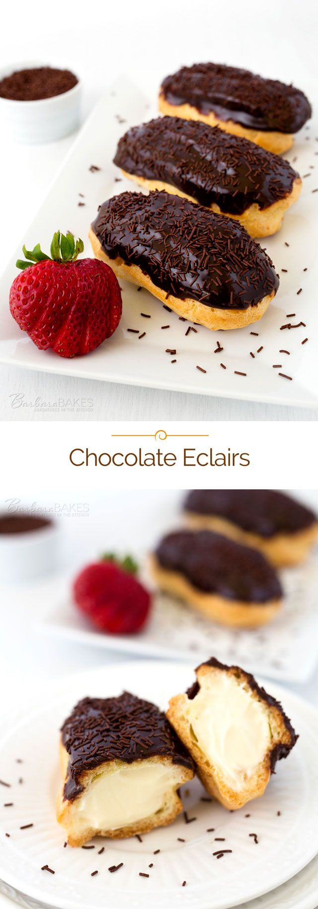 Beautiful Chocolate Eclairs via @barbarabakes made by filling a crisp, buttery eclair shell with a light, creamy vanilla pastry cream and glazing it with a rich, chocolate icing.
