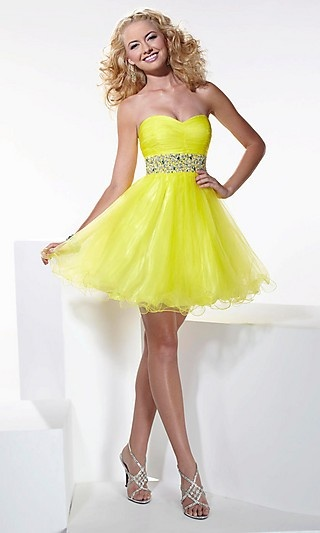 Strapless Hannah S Yellow Homecoming Dress HS-27666  www.dresseswd.com  Style: HS-27666  Name: Strapless Hannah S Homecoming Dress  Details: Beaded Waistband  Fabric: Tulle  Length: Short  Neckline: Strapless, Sweetheart
