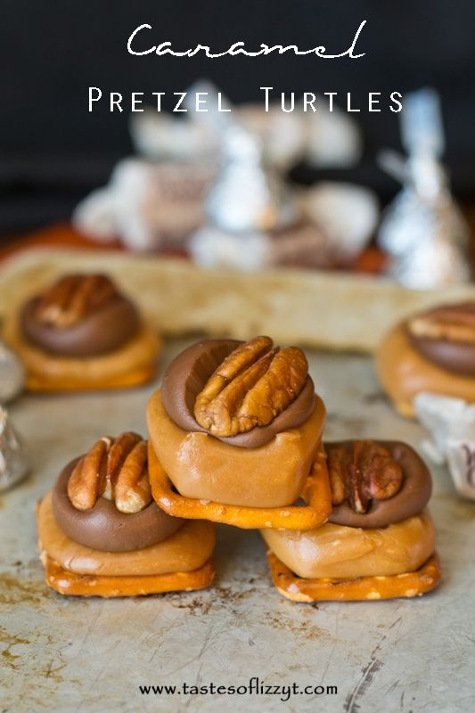 Caramel Pretzel Turtles Tastes of Lizzy T If you love caramel, youll love these turtles! http://www.tastesoflizzyt.com/2014/02/02/caramel-pretzel-turtles/
