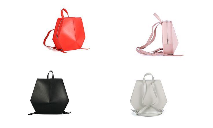 Wink GEOM leather bags in Black, Grey, Powder Pink, Red