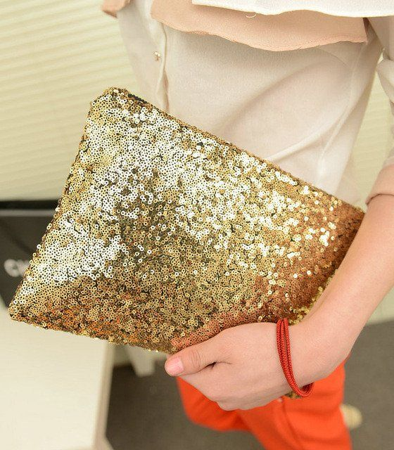 Cleo Clutch (Choose Color) $14.99.  Because GOLD SEQUINS? Yes please!