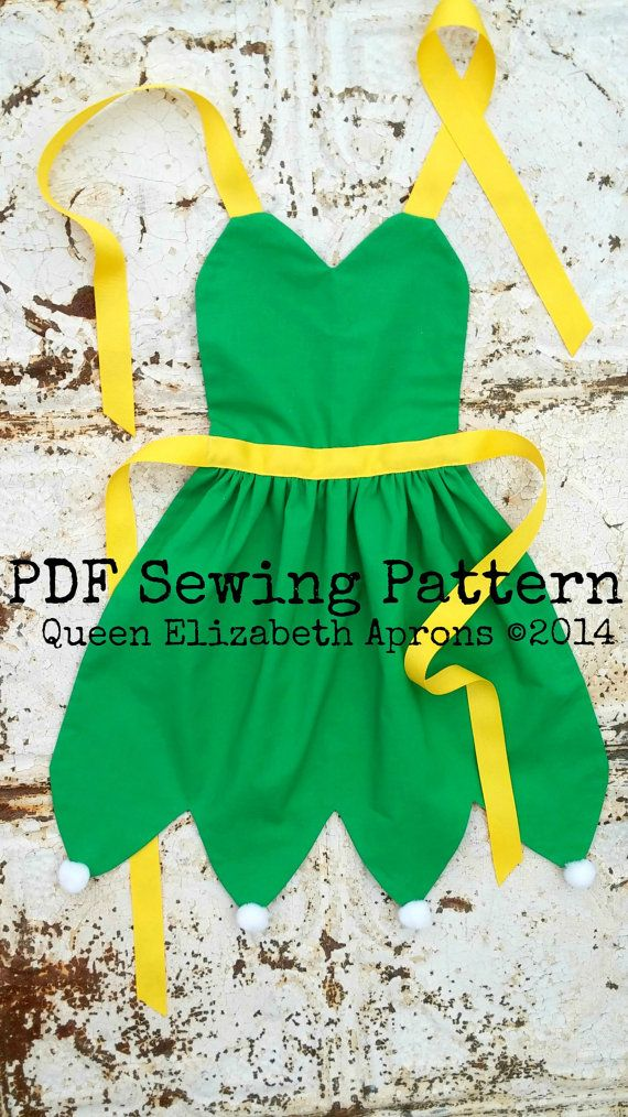 TINKERBELL PDF Sewing PATTERN. Disney Fairy princess inspired Child Costume Apron. Dress up Birthday Party Play Prop Fits girls size 2-8