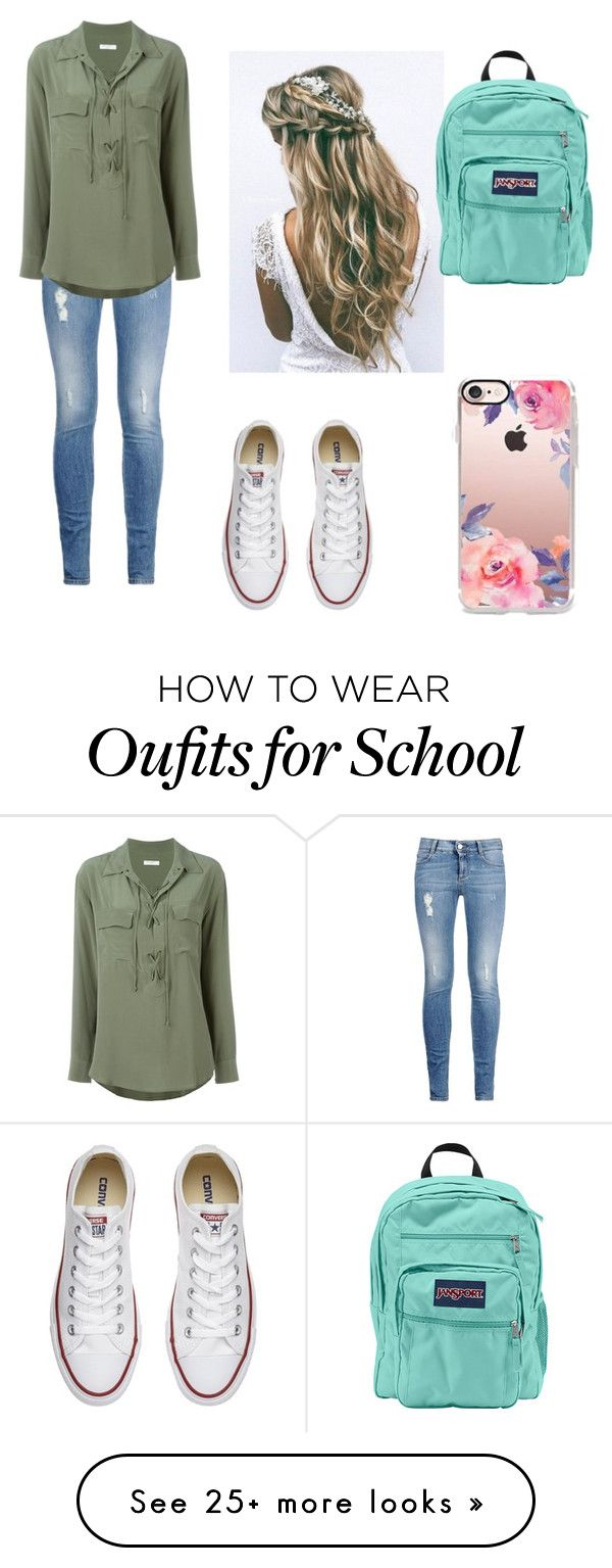 """School Clothes"" by dancer0202 on Polyvore featuring STELLA McCARTNEY, Equipment, Converse, Casetify and JanSport"