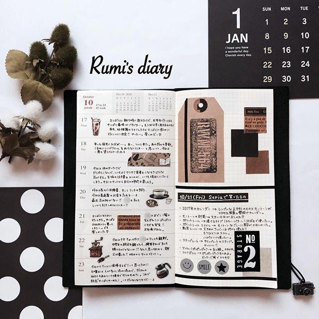 2016/11/06 rumi's diary → week 42 久しぶりのトラベラーズノート♡ 先日Seriaで購入したものを使って。 相変わらずスタンプ押すの苦手〜 #travelersnotebook #travelersnote #トラベラーズノート