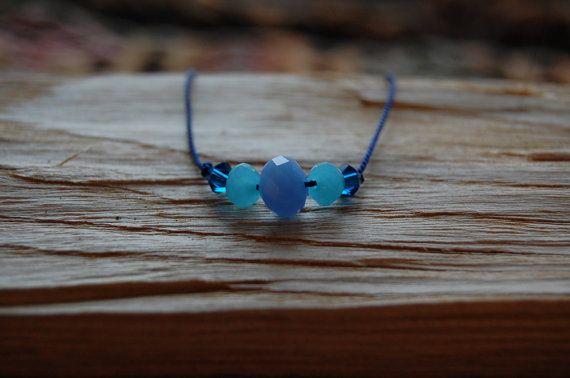 Blue beaded bracelet  glass beads and swarovski by AasJewelry