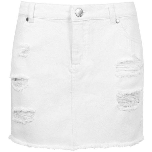 Miss Selfridge White Distressed Denim Skirt (82 BRL) ❤ liked on Polyvore featuring skirts, mini skirts, white, distressed denim skirt, short white skirt, miss selfridge skirts, short mini skirts and short skirts