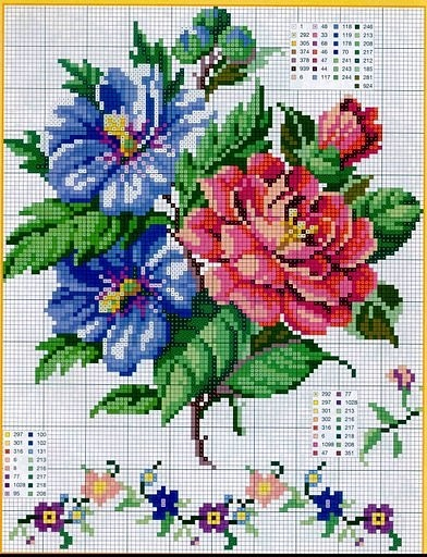 Bouquet of Flowers cross stitch pattern and color chart.