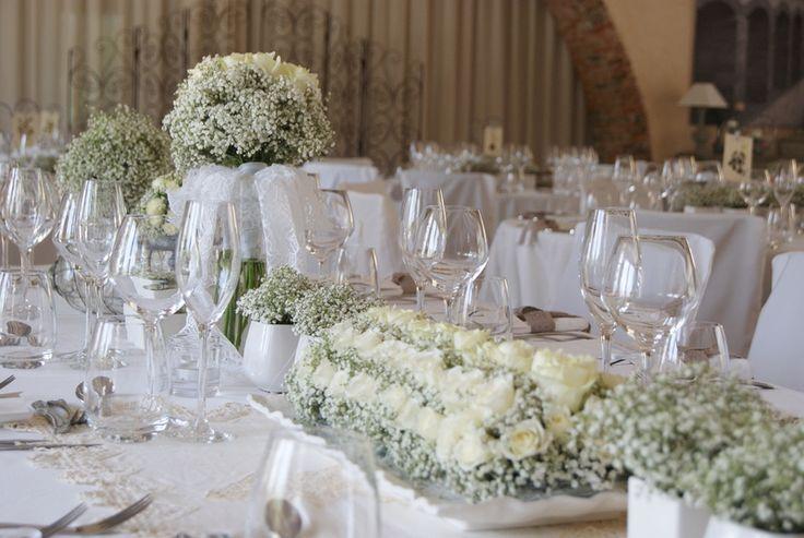 Centre de table gypsophiles et roses mariage champ tre - Pinterest centre de table ...