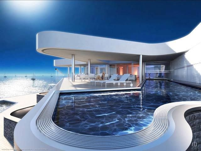 White home with pool