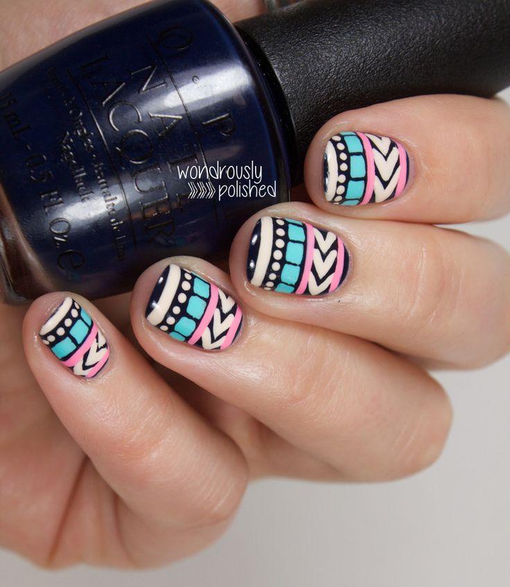 Pastel Tribal Print Nail Art