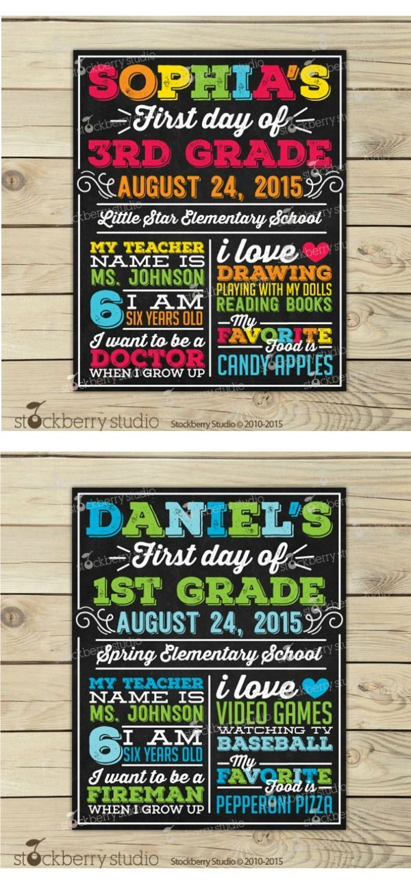 First Day of School Sign - Back to School Printable - 1st Day of School Sign - Back to School Chalkboard Sign - First Day of 1st Grade Sign  #Affiliate