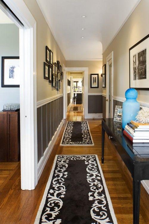 hallway...idea of darker color on lower half and lighter color on upper half wood trim to divide.