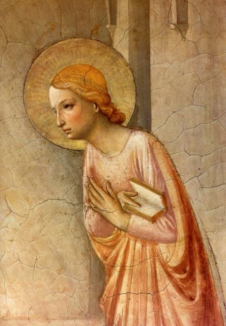 Fra Angelico (c.1395-1455): Annunciation (detail) from cell 3 in Convent of San Marco